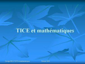 TICE et mathmatiques Groupe REX TICE et mathmatiques
