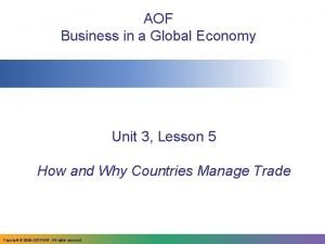 AOF Business in a Global Economy Unit 3