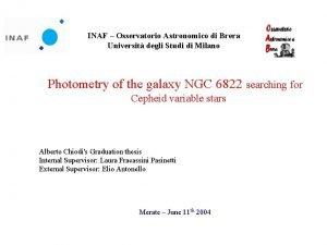 INAF Osservatorio Astronomico di Brera Universit degli Studi