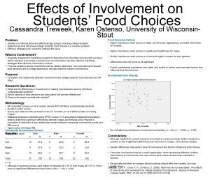 Effects of Involvement on Students Food Choices Cassandra