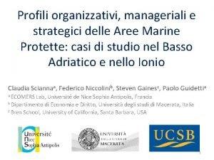 Profili organizzativi manageriali e strategici delle Aree Marine