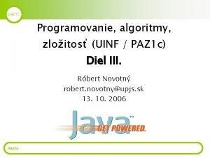 paz 1 c Programovanie algoritmy zloitos UINF PAZ