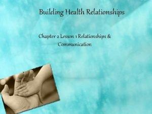 Building Health Relationships Chapter 2 Lesson 1 Relationships
