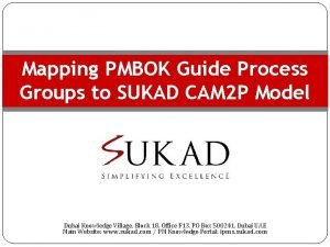 Mapping PMBOK Guide Process Groups to SUKAD CAM