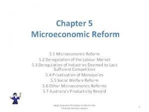 Chapter 5 Microeconomic Reform 5 1 Microeconomic Reform