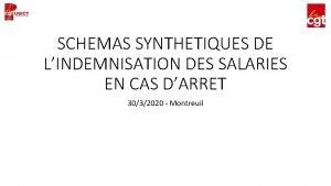 SCHEMAS SYNTHETIQUES DE LINDEMNISATION DES SALARIES EN CAS