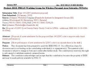 January 2019 doc IEEE 802 15 19 0025
