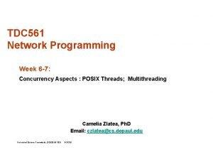 TDC 561 Network Programming Week 6 7 Concurrency