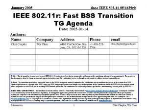 January 2005 doc IEEE 802 11 051629 r