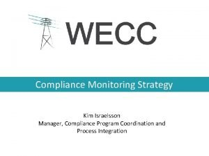 Compliance Monitoring Strategy Kim Israelsson Manager Compliance Program