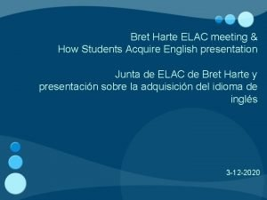 Bret Harte ELAC meeting How Students Acquire English