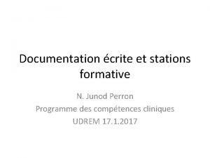 Documentation crite et stations formative N Junod Perron