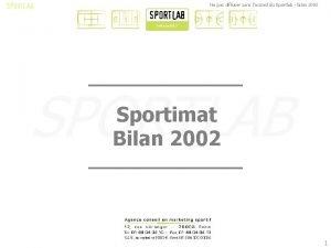 Ne pas diffuser sans laccord du Sportlab bilan