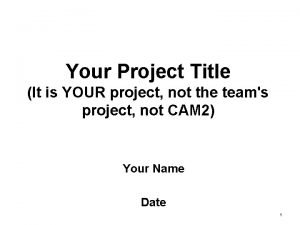 Your Project Title It is YOUR project not