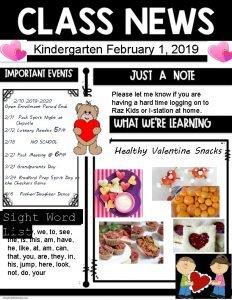 Kindergarten February 1 2019 210 2019 2020 Open