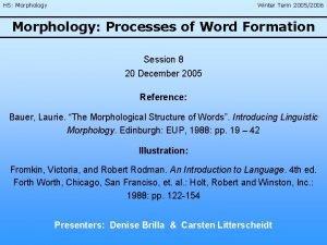 HS Morphology Winter Term 20052006 Morphology Processes of