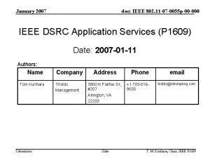 January 2007 doc IEEE 802 11 07 0055