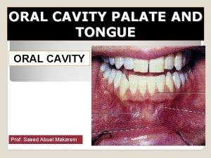 ORAL CAVITY PALATE AND TONGUE ORAL CAVITY Prof