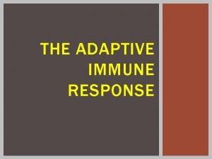 THE ADAPTIVE IMMUNE RESPONSE ADAPTIVE IMMUNE SYSTEM The