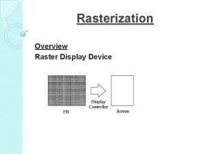 Rasterization Overview Raster Display Device Scan Conversion Rasterization