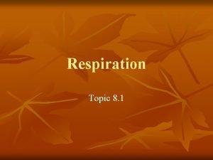 Respiration Topic 8 1 Respiration n In respiration