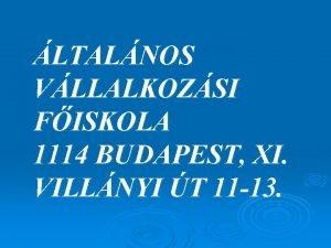 LTALNOS VLLALKOZSI FISKOLA 1114 BUDAPEST XI VILLNYI T