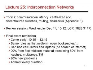 Lecture 25 Interconnection Networks Topics communication latency centralized
