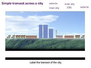 Simple transect across a city suburbs inner city