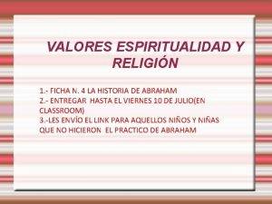 VALORES ESPIRITUALIDAD Y RELIGIN 1 FICHA N 4