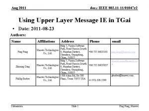 Aug 2011 doc IEEE 802 11 1101047 r
