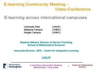 Elearning Community Meeting VideoConference Elearning across international campuses