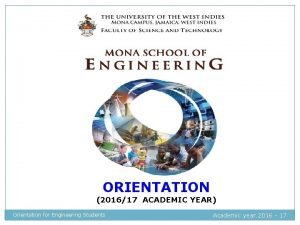 ORIENTATION 201617 ACADEMIC YEAR Orientation for Engineering Students