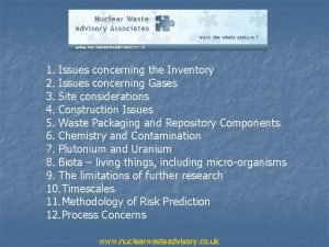 1 Issues concerning the Inventory 2 Issues concerning