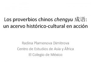 Los proverbios chinos chengyu un acervo histricocultural en