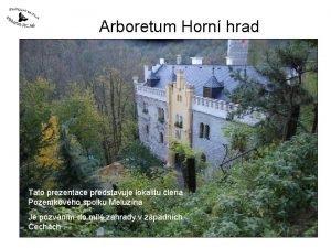 Arboretum Horn hrad Tato prezentace pedstavuje lokalitu lena