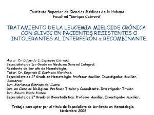 Instituto Superior de Ciencias Mdicas de la Habana