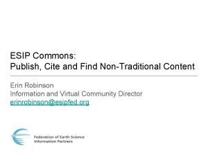 ESIP Commons Publish Cite and Find NonTraditional Content