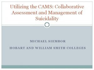 Utilizing the CAMS Collaborative Assessment and Management of