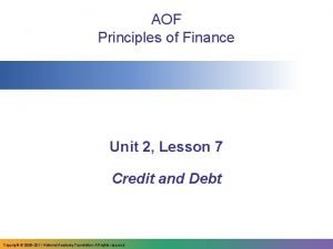 AOF Principles of Finance Unit 2 Lesson 7