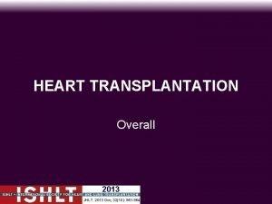 HEART TRANSPLANTATION Overall 2013 JHLT 2013 Oct 3210