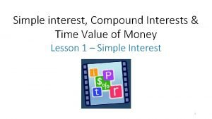 Simple interest Compound Interests Time Value of Money
