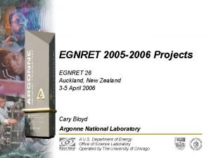 EGNRET 2005 2006 Projects EGNRET 26 Auckland New