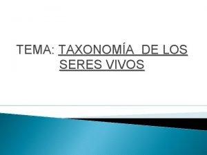 TEMA TAXONOMA DE LOS SERES VIVOS Contenido Clasificacin