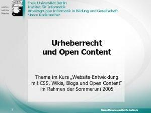Freie Universitt Berlin Institut fr Informatik Arbeitsgruppe Informatik