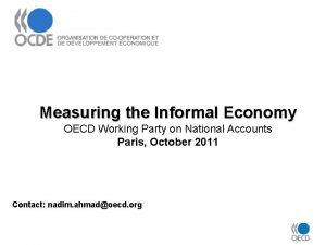 Measuring the Informal Economy OECD Working Party on