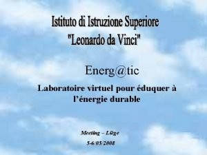 Energtic Laboratoire virtuel pour duquer lnergie durable Meeting