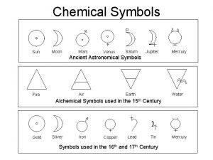 Chemical Symbols Sun Moon Mars Venus Saturn Jupiter