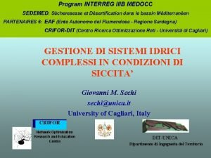 Program INTERREG IIIB MEDOCC SEDEMED Scheresesse et Dsertification