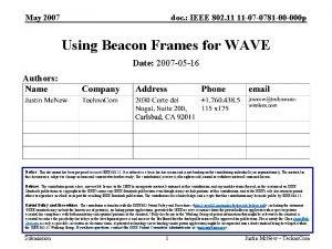 May 2007 doc IEEE 802 11 11 07