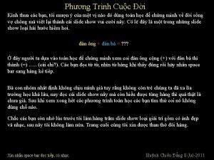 Phng Trnh Cuc i Knh tha cc bn